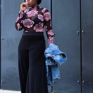 Sheer floral bodysuit